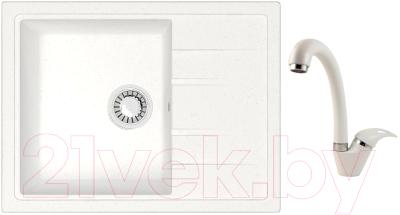 Мойка кухонная Berge BR-5850 + смеситель GR-4003 (белый/арктик)