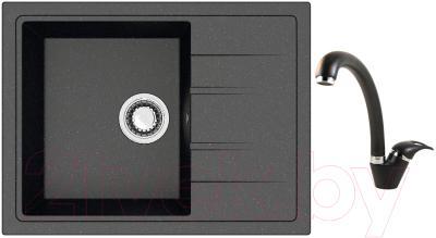 Мойка кухонная Berge BR-5850 + смеситель GR-4003 (черный/шварц)