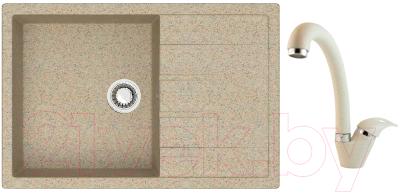 Мойка кухонная Berge BR-7603 + смеситель GR 4003 (песочный/пирит)