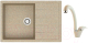 Мойка кухонная Berge BR-7603 + смеситель GR 4003 (песочный/пирит) -