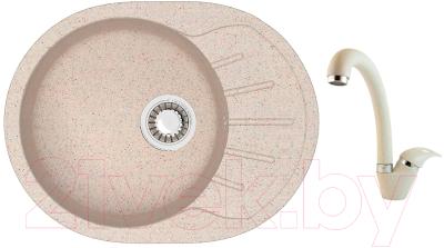 Мойка кухонная Berge BR-5801 + смеситель GR-4003 (бежевый/пирит)