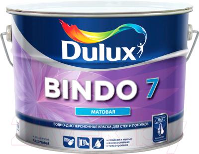 Краска Dulux Bindo 7 для стен и потолков (9л, бесцветный матовый)