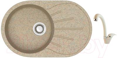 Мойка кухонная Berge BR-7501 + смеситель GR-4003 (песочный/пирит)