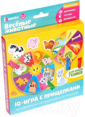 Развивающая игра Zabiaka Животные. IQ-игра с прищепками / 3734797 iq zabiaka развивающая игра с прищепками формы овощи и фрукты по методике монтессори