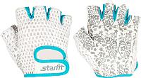 Перчатки для пауэрлифтинга Starfit SU-110 (S, белый/голубой) -