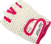 Перчатки для фитнеса Starfit SU-110 (XS, белый/розовый) -