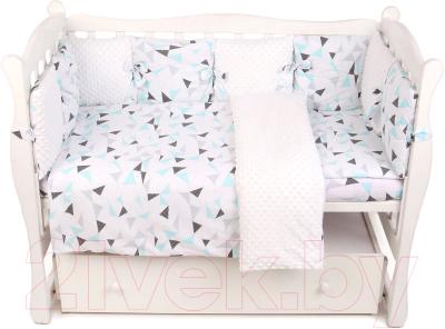 Комплект постельный в кроватку Amarobaby Exclusive Soft Collection Треугольники / AMARO-3015-SCT amarobaby комплект в кроватку exclusive soft collection папоротники 7 предметов белый зеленый