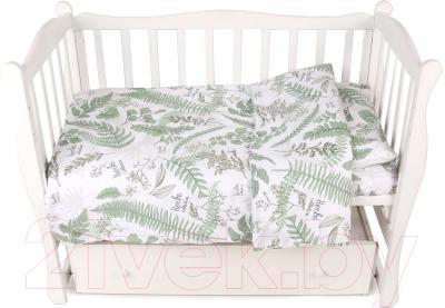 Комплект постельный детский Amarobaby Exclusive Soft Collection Папоротники / AMARO-3003-SCP amarobaby комплект в кроватку exclusive soft collection папоротники 7 предметов белый зеленый