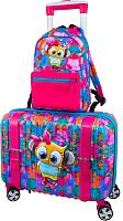 Чемодан на колесах DeLune Lune-001 + рюкзак (розовый) -