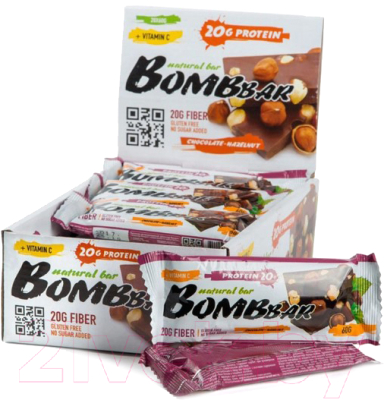 Протеиновые батончики Bombbar Шоколад-фундук