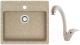 Мойка кухонная Berge BR-5750 + смеситель GR-4003 (песочный/классик) -