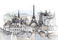 Фотообои Citydecor Акварельный Париж (200x140) -