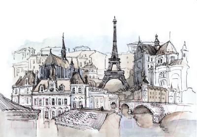 Фотообои листовые Citydecor Акварельный Париж