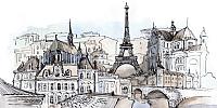 Фотообои Citydecor Акварельный Париж (300x150) -