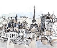 Фотообои Citydecor Акварельный Париж (300x254) -