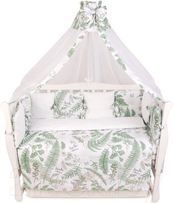 Комплект постельный в кроватку Amarobaby Exclusive Soft Collection Папоротники / AMARO-3018-SCP amarobaby комплект в кроватку exclusive soft collection папоротники 7 предметов белый зеленый