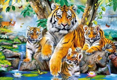 Пазл Castorland Семья тигров у ручья / C-104413