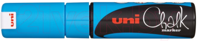 Маркер меловой UNI Mitsubishi Pencil Chalk на меловой основе 8мм / PWE-8K METALLIC BLUE