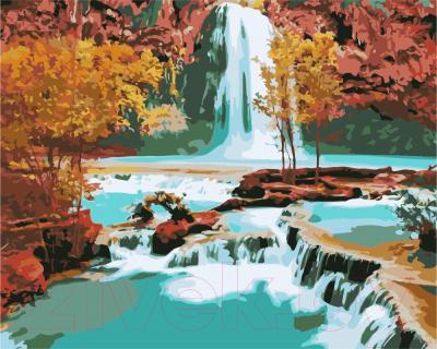 Картина по номерам PaintBoy Водопад осенью / GX7253
