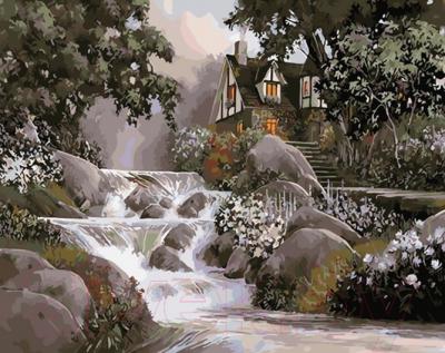 Картина по номерам PaintBoy Дом у водопада / GX31644
