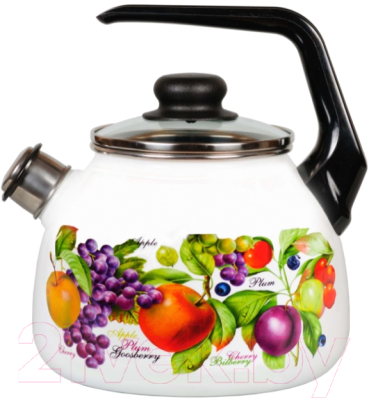 Чайник со свистком СтальЭмаль Confitura 1RC12 стальэмаль чайник bon appetit со свистком 1rc12 3 л чёрный с зерном вишнёвый