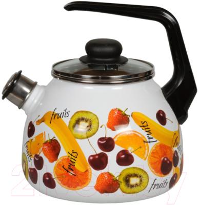 Чайник со свистком СтальЭмаль Fruits 1RC12 стальэмаль чайник bon appetit со свистком 1rc12 3 л чёрный с зерном вишнёвый