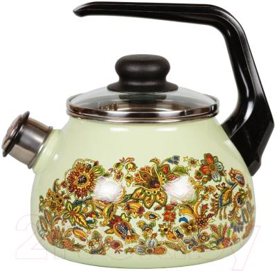 Чайник со свистком СтальЭмаль Imperio 1RC12 стальэмаль чайник bon appetit со свистком 1rc12 3 л чёрный с зерном вишнёвый