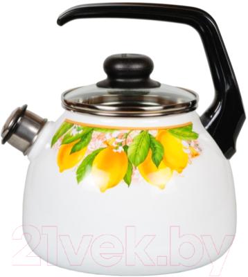 Чайник со свистком СтальЭмаль Limon 1RC12 стальэмаль чайник bon appetit со свистком 1rc12 3 л чёрный с зерном вишнёвый