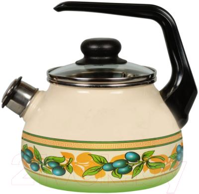 Чайник со свистком СтальЭмаль Oliva 1RC12 стальэмаль чайник bon appetit со свистком 1rc12 3 л чёрный с зерном вишнёвый
