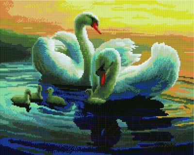 Набор алмазной вышивки PaintBoy Лебединая семья / GF257