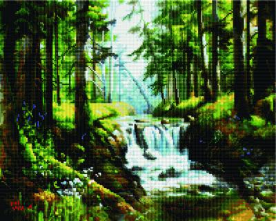 Набор алмазной вышивки PaintBoy Лесной водопад / GF1223