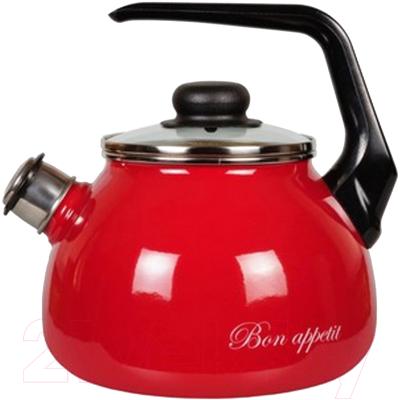 Чайник со свистком СтальЭмаль Bon appetit 1RC12 стальэмаль чайник bon appetit со свистком 1rc12 3 л чёрный с зерном вишнёвый