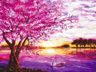 Картина по номерам Остров Сокровищ Цветущая сакура / 662494