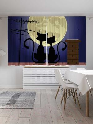 Шторы JoyArty Коты на крыше смотрят на луну / p_84492493
