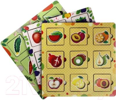 Развивающая игрушка WoodLand Toys Фрукты, овощи и ягоды. Вкладыш / 155102 развивающая игра домино пазлы читазлы фрукты овощи и ягоды 4