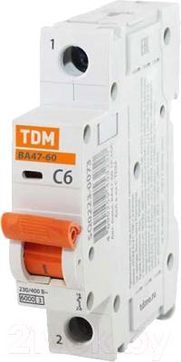 Выключатель автоматический TDM ВА 47-60 1P 6А (С) 6кА / SQ0223-0073