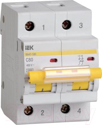 Выключатель автоматический IEK ВА 47-100 80А 2P 10кА С / MVA40-2-080-C