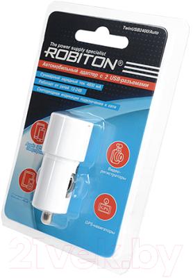 Адаптер питания автомобильный Robiton TwinUSB2400/Auto