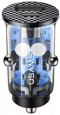 Зарядное устройство автомобильное Usams 4.5A 42.5W Dual Ports USB2.0 + Type-C Quick Charge / CC127CC01 автомобильное зарядное устройство samsung type c 2a fast charge 15w черный