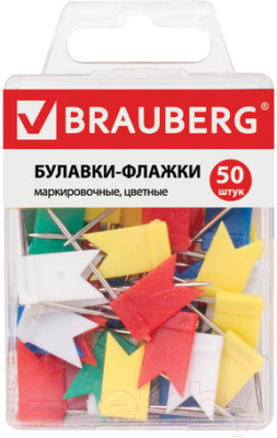 Булавки канцелярские, 40 шт. Brauberg Флажки маркировочные / 221537
