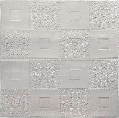 Панель ПВХ листовая, 3 шт. Grace Самоклеющаяся Плитка белая с узорами