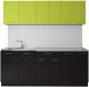 Готовая кухня Артём-Мебель Лана без стекла 2.4 ДСП (лайм/черный) -