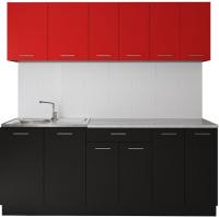 Готовая кухня Артём-Мебель Лана без стекла ДСП 2.4 (красный/черный) -