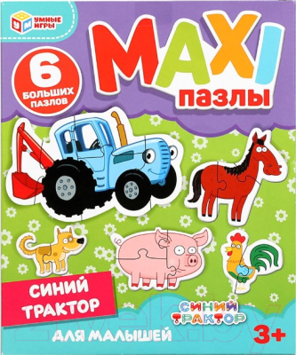 Развивающие карточки Умные игры Синий трактор. Макси-пазлы для малышей. / 4680107906625