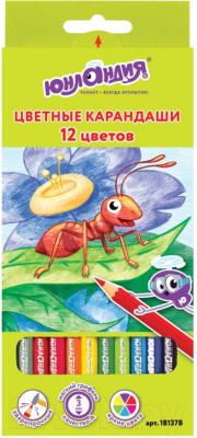 Набор цветных карандашей, 12 шт. Юнландия В гостях у букашек / 181378 сахарнов с в школьная библиотека в гостях у крокодилов
