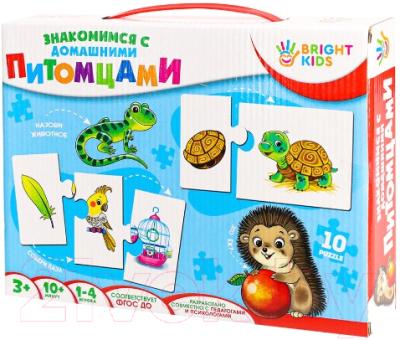 Развивающие карточки Bright Kids Пазлы. Знакомимся с домашними питомцами / ИН-7619