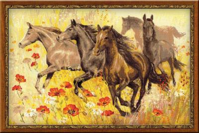 Набор для вышивания Риолис Табун лошадей / 1064