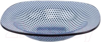 Тарелка столовая глубокая Zibo Shelley Синяя точка / S354108R/B