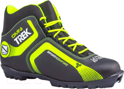 Ботинки для беговых лыж TREK Omni NNN (черный/лайм, р-р 33)