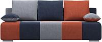 Диван Woodcraft Плей Пэчворк (светло-серый велюр/темно-синий велюр/оранжевый велюр) -